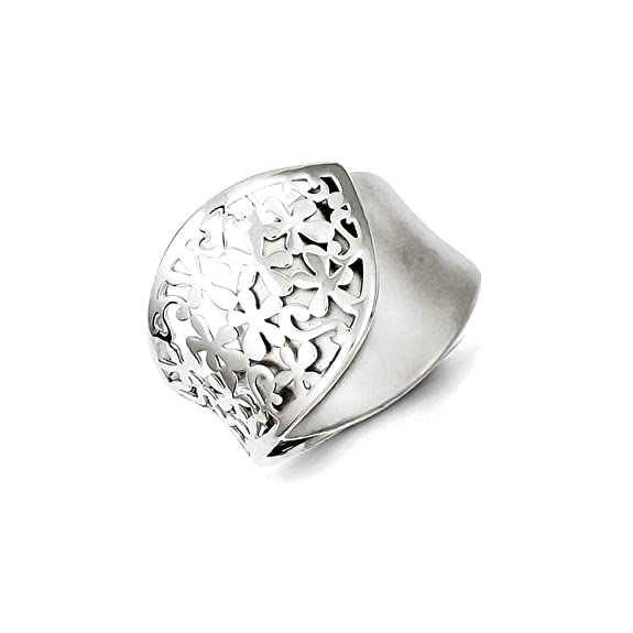 Sterling Silver Polished and Brushed Flower Design Ring