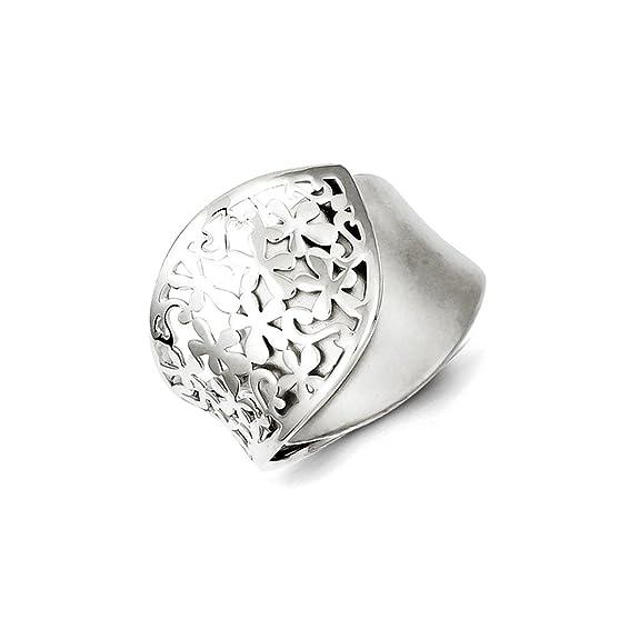 Sterling Silver Polished and Brushed Flower Design Ring