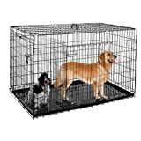 Pet Trex 48 Inch Folding Crate-N-Kennel Double Door Heavy Duty Metal Cage 48