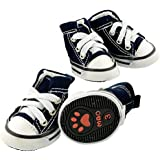 Pet Dog Shoes Denim Sport Casual Anti-slip Rubber Boots Dark Blue Sneaker Comfortable Shoes 4Pcs Pack (Medium)