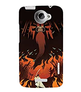 printtech Samurai Aku Cartoon Back Case Cover for HTC One XT / HTC 1X