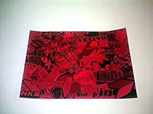 Sticker Bomb Lot Pack Graffiti Wrap JDM Decal Vinyl Sheet - Red