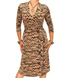 Blue Banana - Brown and Beige Zig Zag Print Wrap Dress