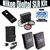 (2) EN-EL9 High Capacity Li-ion Batteries + Multi Voltage Battery Charger + 3-piece Filter Set + Remote (ML-L3...