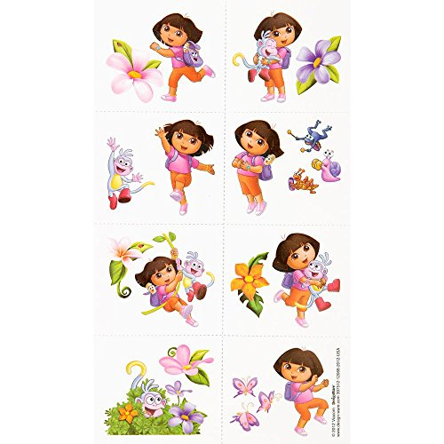 Amscan Colorful Dora's Flower Adventure Party Tattoo (16 Piece), Multi - 1