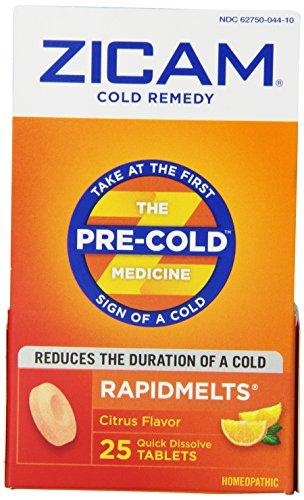 Zicam Cold Remedy RapidMelts +C, Citrus, 25 Quick Dissolve Tablets (Pack of 2)