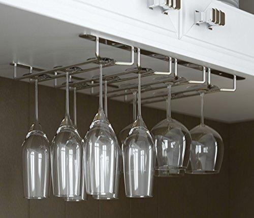 Stemware Glass Rack Wine Glasses Under Cabinet Chrome Finish (Rack Wine Glasses compare prices)