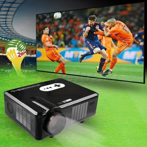 New Mini 3000Lumen Hd Home Theater Multimedia Lcd Projector 1080P-Hdmi Analog Tv Vga Av 3D Red Blue Native 1280*800 - Black