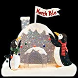 Holiday 4' Lighted Penguin Decorating With Colorful Lights On Irridescent North Pole Igloo Outdoor Christmas Decoration