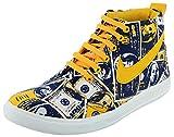 Good Luck Footwear Men's Blue & Yellow Canvas High Top Shoes - 9 UK