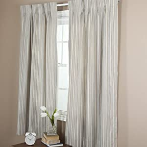"Black & White Striped Thermal Pinch Pleated Drapes 120"" Wide 84"" Tall, 1 Pair"