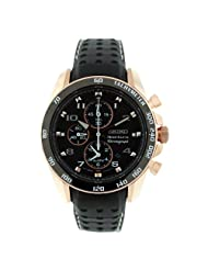 Seiko Men's SNAE80 Leather Synthetic Analog Black Watch