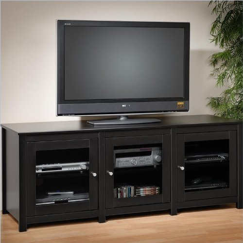Santino Black Flat Panel LCD / Plasma TV Console 3 Glass Doors By Prepac