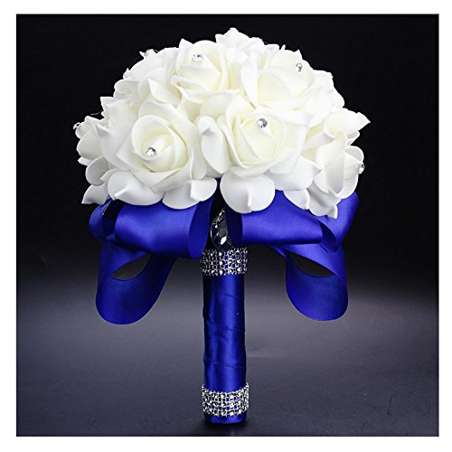 StillCool Still Royal-blue Crystal Pearl Silk Roses Bridal Bridesmaid Wedding Bouquet (18cm*24cm, Royal-blue)