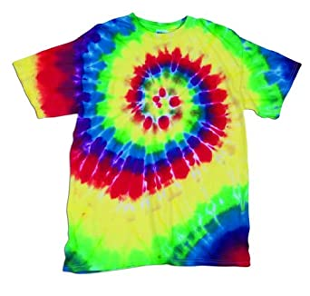 Fruit of the Loom Girl's Kids Tie Dye T-Shirt-Rainbow Spiral-X-Small (2-4)