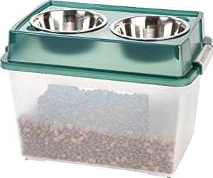 IRIS Airtight Elevated Storage Feeder with 2 Stainless Steel Bowls, 2-Quart, Green