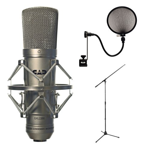 Cad Audio Gxl2200 Cardioid Condenser Microphone With Cad Audio Microphone Pop Filter And Tripod Boom Microphone Stand