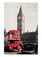 Artopweb Panel Decorativo London London Westminster 90x60 cm Bordo Nero