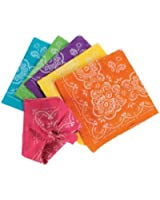 Fun Express Lot of 12 Polyester Bright Neon Color Paisley Scarf Bandana Bandannas, Purple/Pink/Blue/Orange/Yellow/Green