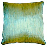 Homeblendz Polyester Paper Silk Crushed With Sequins Greenish Blue 40x40 Cushion Cover