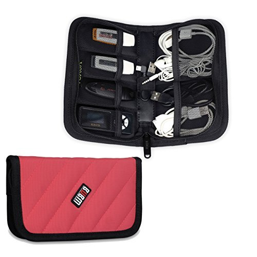 Damai Universal Electronics Accessories Case / Usb Drive Shuttle / Cable Organizer Bag / Healthcare & Grooming Kit (Rose Red) Color: Rose Red Pc, Personal Computer front-796129