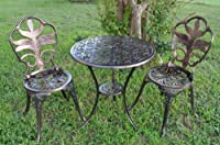 Antiqued Bronze Bistro Set - Table and Two Chairs for Yard, 3 Pieces Product SKU: PB11123 from Pier Surplus