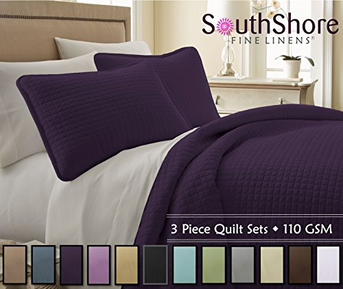Southshore Fine Linens® 3 Piece Oversized Quilt Sets (Queen, Purple) (Queen Quilt Set Purple compare prices)