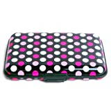 Billetera de Aluminio HDE con protección de bloqueo RFID, color negro con lunares rosados y blancos.