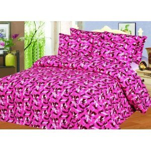 Pink Camouflage Bedding 735 front