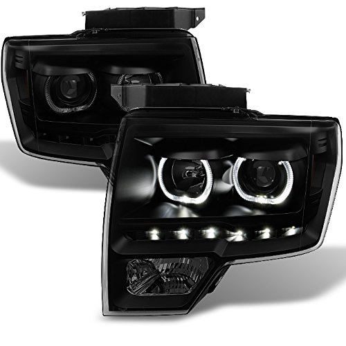 Ford F150 Black Smoke *Exclusive* Halo Projector SMD DRL LED Headlights Left + Right Side Pair Set (2011 Ford F150 Halo Headlights compare prices)