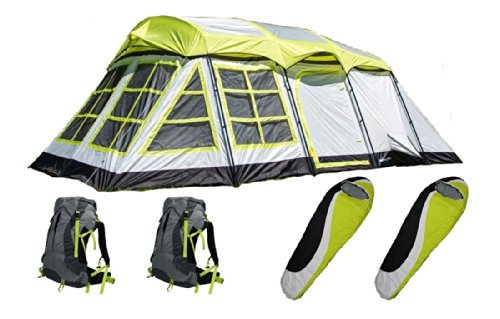 """New Large 20'Lx12'Wx84""""H Tent Floor Vents W Sleeping Bag & Set Of 2 Backpack"""