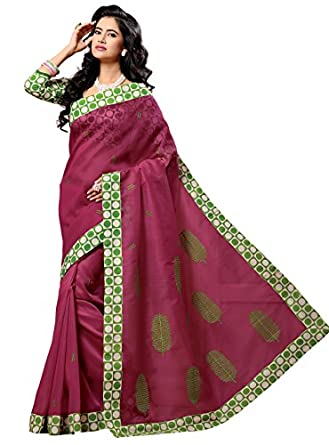 Triveni Indian Designer Party Wear Magenta Amazing Embroidered Cotton Saree available at Amazon for Rs.1318
