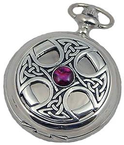 A E Williams 4807 Celtic mens quartz pocket watch with chain