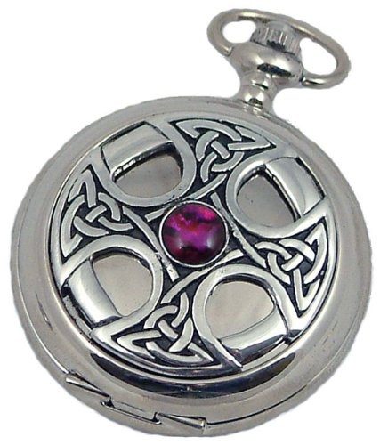 A E Williams 4807SK Celtic mens mechanical pocket watch with chain