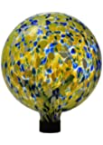Russco lll GD127693 Yellow Glass Gazing Ball with Solar LED Insert