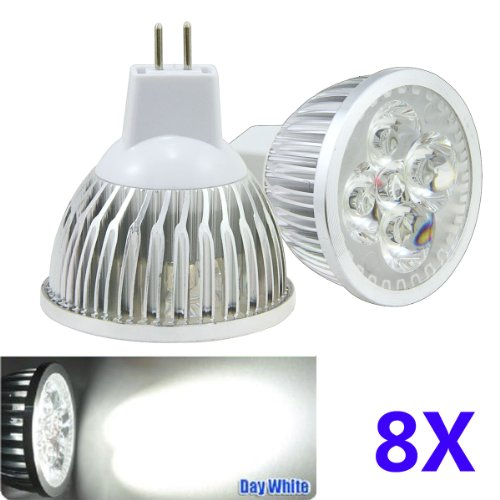 Bao Xin ] Led Mr16 Daylight 6000K Bulbs 4W 12V Perfect For Replacing Standard 12V 50W Halogen Spotlight Bulbs Energy Saving And Soft Lighting (8 Pieces)