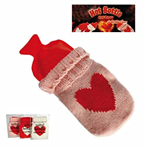 Mini Heart Hot Water Bottle in Red - Pocket Size, Hand Warmer - Women, Woman, Lady, Ladies, Her Most, Top, Best Popular Present, Gift Ideas For Birthday, Christmas, Xmas