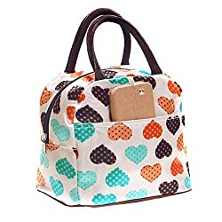 Wowlife Cute Love Heart Lunch Bag Tote Bag Lunch Organizer Lunch Holder Lunch Container Reusable Lunch Bags