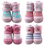 Luvable Friends Girls 4 Pair Computer Socks, Pink Multi, 0-9 Months