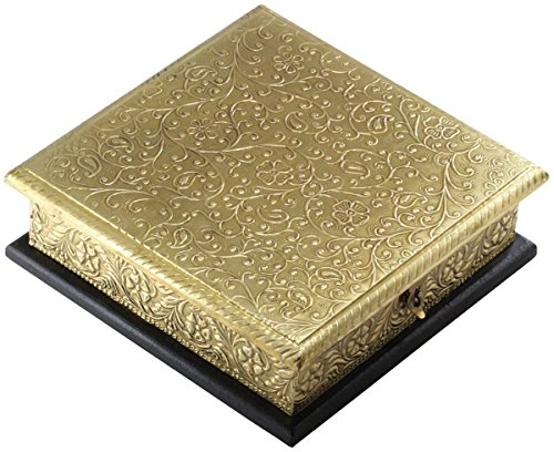 Today's Offer - Oriental Box - 8x8 Inch Golden Wood Jewelry Box - Handmade Decorative with Brass Golden Antique Style Finish Keepsake Trinket Storage Box - jewellery Box / Treasure Chest Case