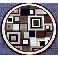 Modern Round Rug 4 Ft. X 4 Ft. Brown #125