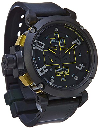 Welder Men's Quartz Watch with Black Dial Chronograph Display and Black Rubber Strap K34-2001