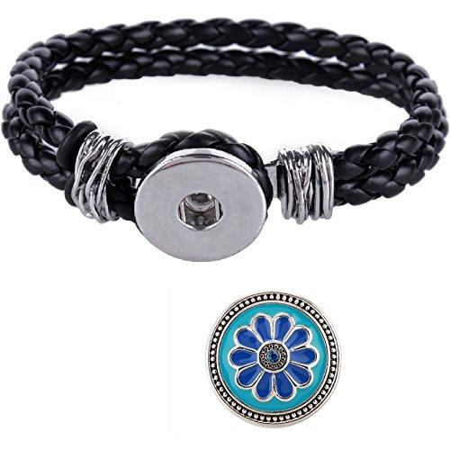 morella-damen-click-button-set-trenzada-pulsera-negro-y-flor-pulsador-azul-en-turquesa-subterraneo