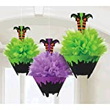 Witch Legs in Cauldron - Fluffy Tissue Paper Hanging Halloween Decoration - Set of 3 - 10-1/2 Inches