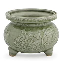 NOVICA Leaf And Tree Celadon Ceramic Incense Burner, Green, \'Thai Forest\'