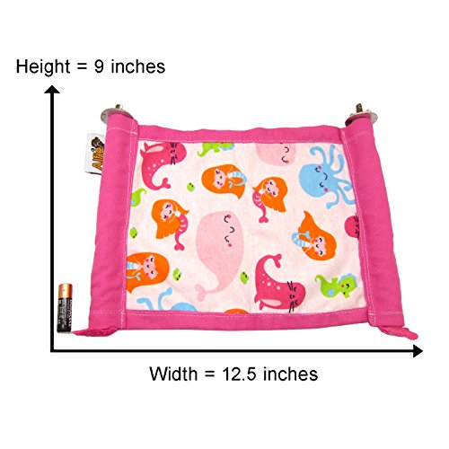 Alfie Pet by Petoga Couture - Ophie Hanging Platform for Small Animals (Living Habitat for Rabbit and Guinea Pig) - Pattern: Seaworld, Size: L