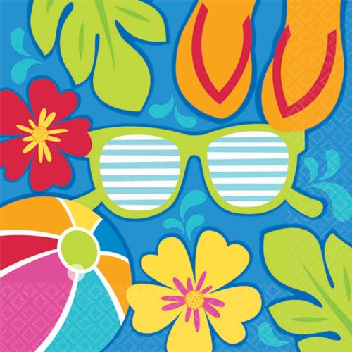 Summer Splash Luau Beverage Napkins Party Accessory
