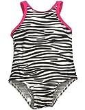 Bebé bollos-Bañador de niña One Piece Zebra Negro, Blanco 30435-24meses Color: Negro Zebra Blanco Tamaño: 24Meses (Baby/Babe/Infant-Little Ones)