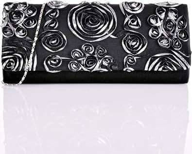 CONTEMPO Cntmp Damen Abendtaschen Clutches Unterarmtaschen Handtaschen Schultertaschen Partybags XL Satin Schwarz Silber 33x15x5 cm (B x H x T)