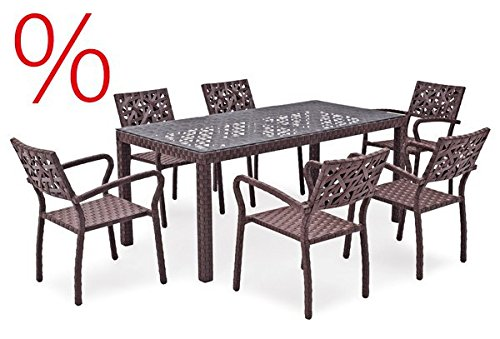 Landmann Rattan Essgruppe Kadeni - 6 Sitze mit Tisch 180x90cm, dunkelbraun